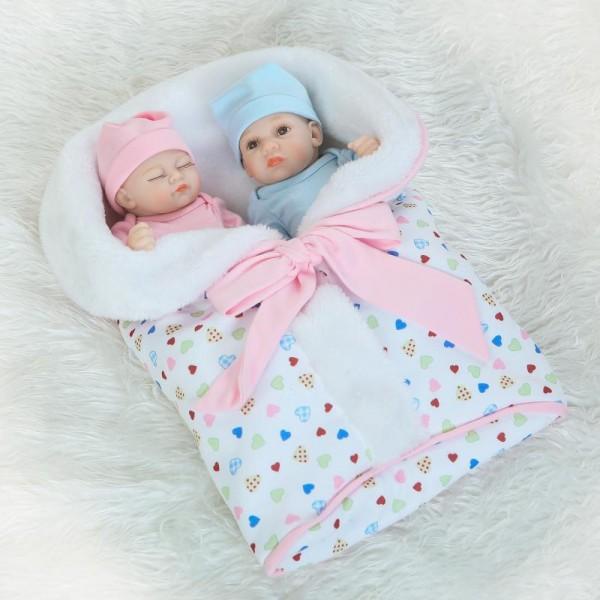 Lifelike Silicone Reborn Twins Preemie Poseable Sleeping Boy Girl Baby Doll 10inch